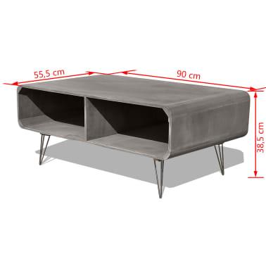 vidaXL Kavos staliukas, 90x55,5x38,5 cm, medinis, pilkas[7/8]