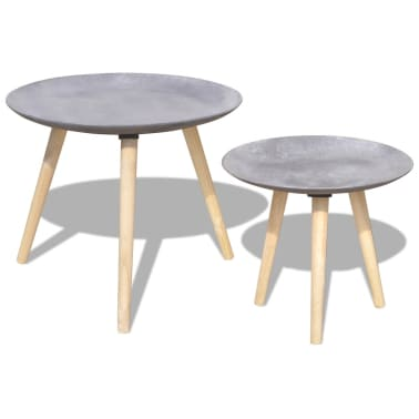 vidaXL Two Piece Side Table/Coffee Table Set 55 cm&44 cm Concrete Grey[1/7]