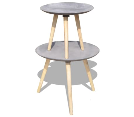 "vidaXL Two Piece Side Table/Coffee Table Set 21.7"" 17.3"" Concrete Gray[6/7]"
