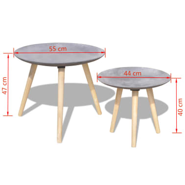 vidaXL Two Piece Side Table/Coffee Table Set 55 cm&44 cm Concrete Grey[7/7]