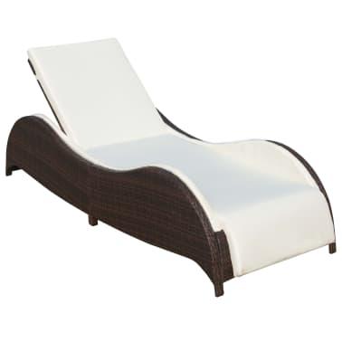 vidaXL Saulės gultas su pagalvėle, poliratanas, rudas[2/7]
