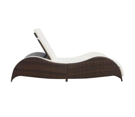 acheter vidaxl chaise longue avec coussin forme ondul e marron r sine tress e pas cher. Black Bedroom Furniture Sets. Home Design Ideas