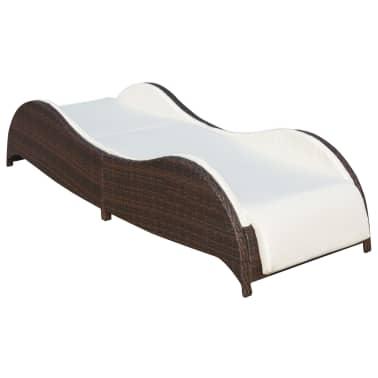 vidaXL Saulės gultas su pagalvėle, poliratanas, rudas[3/7]