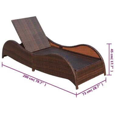 vidaXL Saulės gultas su pagalvėle, poliratanas, rudas[7/7]