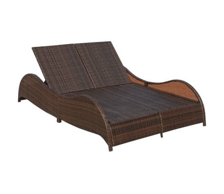 acheter vidaxl chaise longue double et coussin ondul e marron r sine tress e pas cher. Black Bedroom Furniture Sets. Home Design Ideas