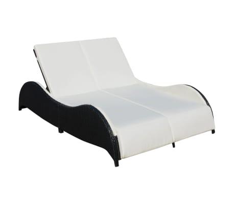 acheter vidaxl chaise longue double avec coussin ondul e noir r sine tress e pas cher. Black Bedroom Furniture Sets. Home Design Ideas