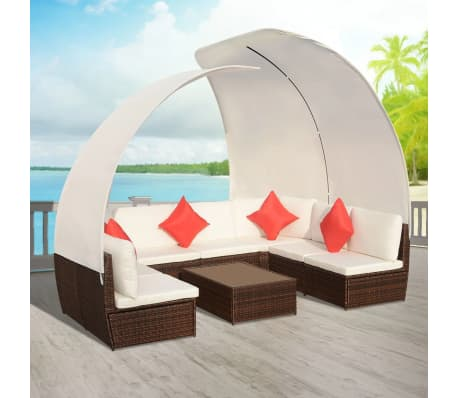 Set Giardino In Rattan.Vidaxl 9 Piece Garden Lounge Set With Canopies Poly Rattan Brown