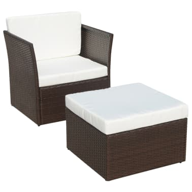 vidaXL Garden Chair with Stool Poly Rattan Brown[1/12]