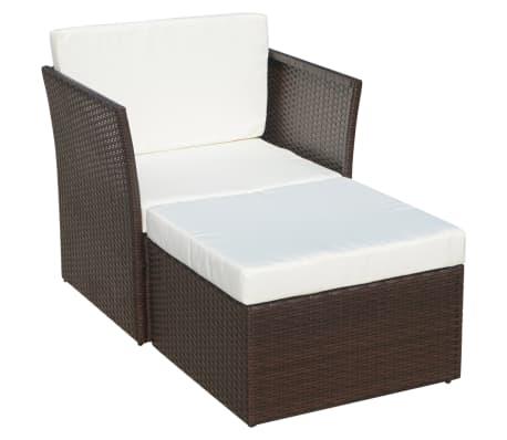 vidaXL Garden Chair with Stool Poly Rattan Brown[2/12]
