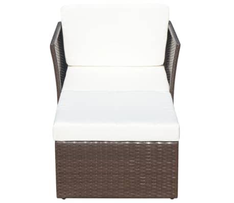 vidaXL Garden Chair with Stool Poly Rattan Brown[3/12]