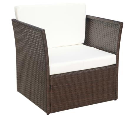 vidaXL Garden Chair with Stool Poly Rattan Brown[5/12]