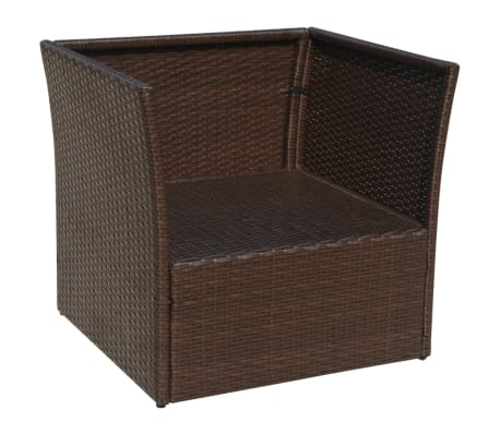vidaXL Garden Chair with Stool Poly Rattan Brown[8/12]