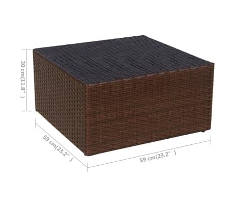 vidaXL Garden Chair with Stool Poly Rattan Brown[10/12]