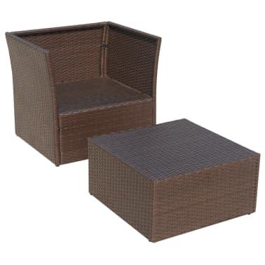 vidaXL Garden Chair with Stool Poly Rattan Brown[7/12]