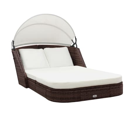 vidaXL Sun Lounger with Canopy Poly Rattan Brown[2/8]