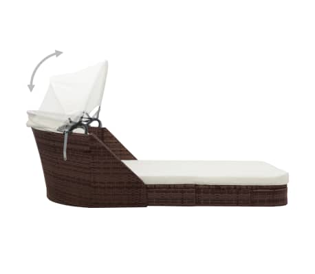 vidaXL Sun Lounger with Canopy Poly Rattan Brown[4/8]