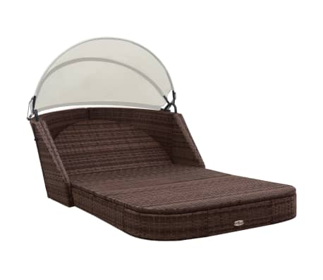vidaXL Sun Lounger with Canopy Poly Rattan Brown[5/8]