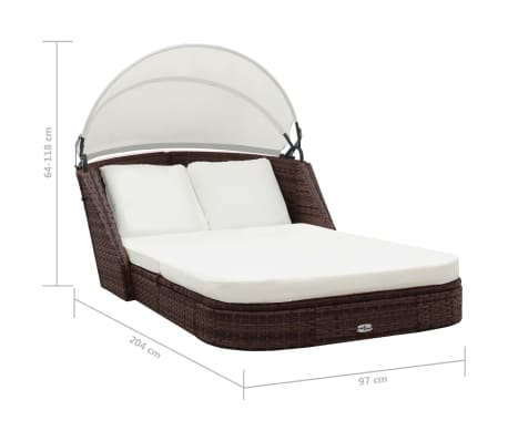 vidaXL Sun Lounger with Canopy Poly Rattan Brown[6/8]