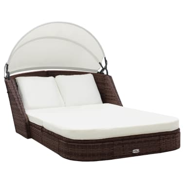 vidaXL Sun Lounger with Canopy Poly Rattan Brown[1/8]