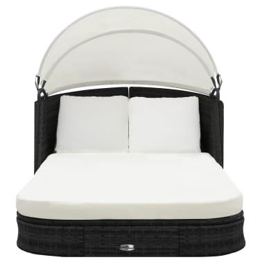 vidaXL Saulės gultas su stogeliu, sintetinis ratanas, juodas[3/8]