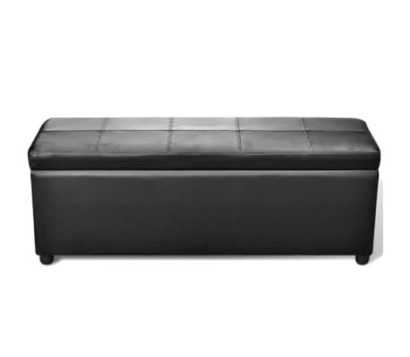 vidaXL Long Storage Bench Wood Black[2/5]