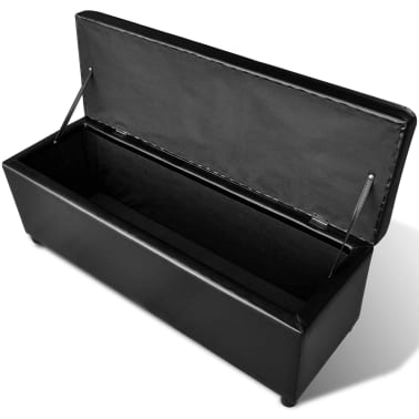 vidaXL Long Storage Bench Wood Black[3/5]