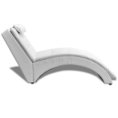 vidaXL Chaise Longue with Pillow Artificial Leather White[3/5]