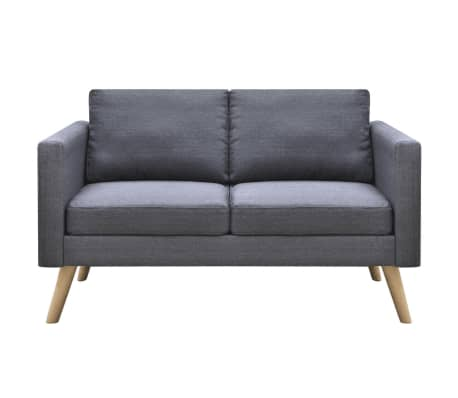vidaXL 2-seater Sofa Fabric Dark Gray[2/4]