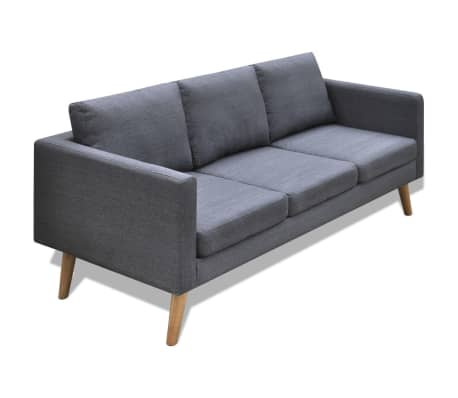 vidaXL 3-seater Sofa Fabric Dark Gray[1/4]