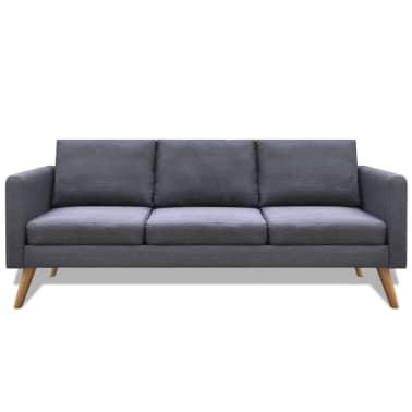 vidaXL 3-seater Sofa Fabric Dark Gray[2/4]