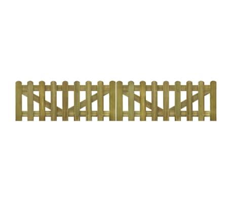 vidaXL Portail de clôture à piquets 2 pcs Bois imprégné 300x60 cm