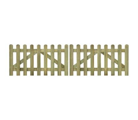 vidaXL Picket Fence Gate 2 pcs Impregnated Wood 300x80 cm