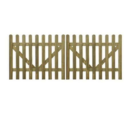 vidaXL Portail de clôture à piquets 2 pcs Bois imprégné 300x120 cm