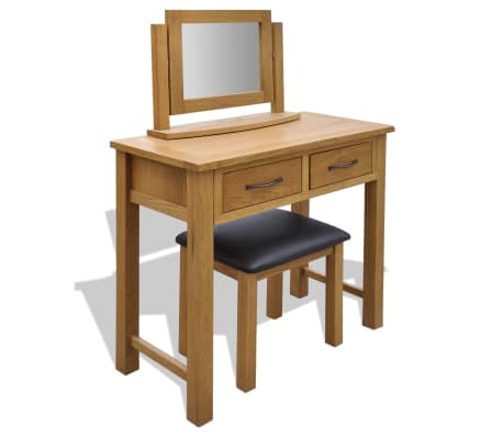 vidaXL Oak Dressing Table with Stool[1/6]