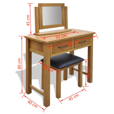 vidaXL Oak Dressing Table with Stool[6/6]
