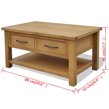 "vidaXL Oak Coffee Table 34.6""x20.9""x17.7""[5/5]"