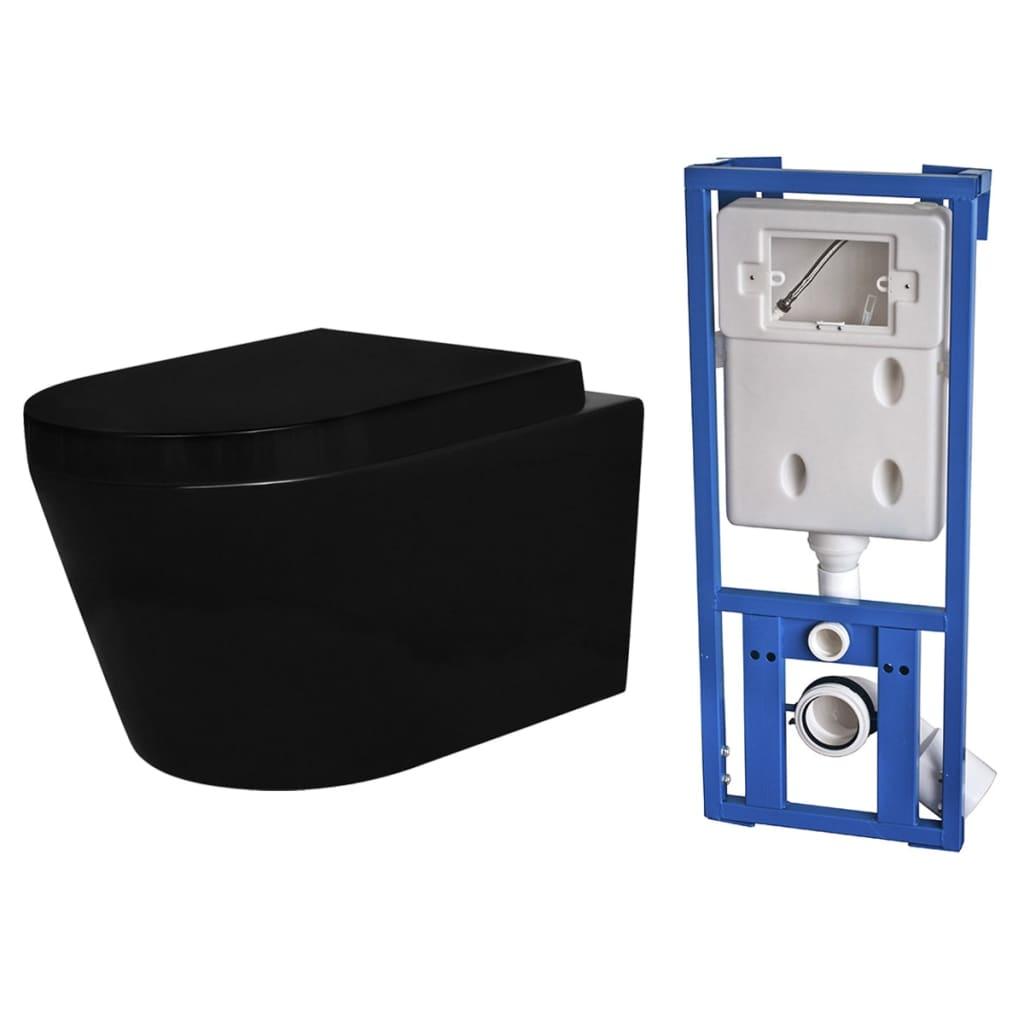 Afbeelding van vidaXL Toilet hangend keramisch badkamer zwart met inbouwreservoir