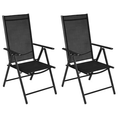 Astounding Vidaxl Folding Garden Chairs 2 Pcs Aluminium And Textilene Cjindustries Chair Design For Home Cjindustriesco