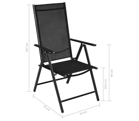 Phenomenal Vidaxl Folding Garden Chairs 2 Pcs Aluminium And Textilene Black Ncnpc Chair Design For Home Ncnpcorg
