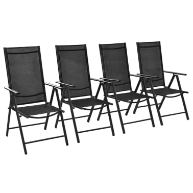 "vidaXL Outdoor Chairs 4 pcs Aluminum 21.3""x28.7""x42.1"" Black[1/8]"