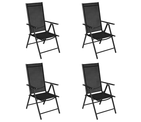 "vidaXL Outdoor Chairs 4 pcs Aluminum 21.3""x28.7""x42.1"" Black[2/8]"