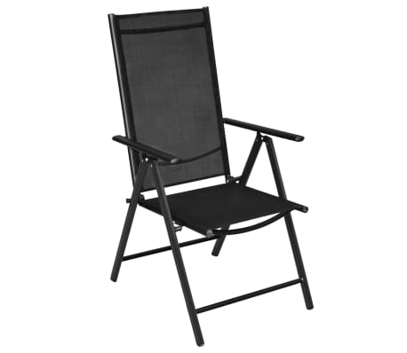"vidaXL Outdoor Chairs 4 pcs Aluminum 21.3""x28.7""x42.1"" Black[3/8]"