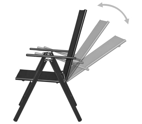 "vidaXL Outdoor Chairs 4 pcs Aluminum 21.3""x28.7""x42.1"" Black[5/8]"