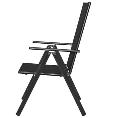"vidaXL Outdoor Chairs 4 pcs Aluminum 21.3""x28.7""x42.1"" Black[4/8]"