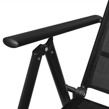 "vidaXL Outdoor Chairs 4 pcs Aluminum 21.3""x28.7""x42.1"" Black[6/8]"
