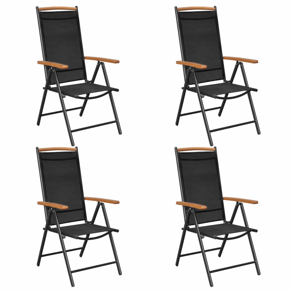 vidaXL Καρέκλες Κήπου Πτυσσόμενες 4 τεμ. Μαύρες Αλουμίνιο / Textilene