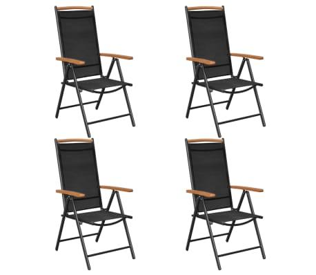 vidaXL Tuinstoelen inklapbaar 4 st aluminium en textileen zwart -picture