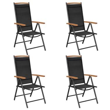 vidaXL Tuinstoelen inklapbaar 2 stuks aluminium en textileen zwart[1/8]