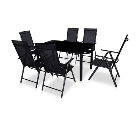vidaXL 7 Piece Outdoor Dining Set with Folding Chairs Aluminium Black-picture