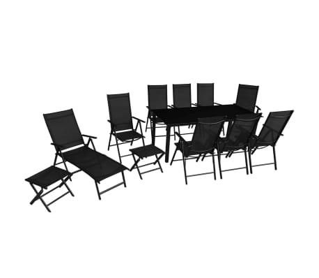 vidaXL 12 Piece Outdoor Dining Set Aluminium Black[1/16]